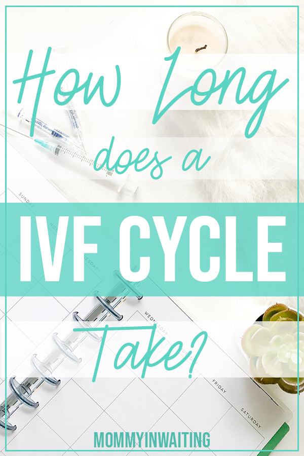 How Long Does an IVF Cycle Take? In this post I'll share my IVF calendar and talk about how long does IVF take from first appointment as well as share my IVF process timeline. How does IVF work? PIN NOW - Read Later | Mommyinwaiting.com